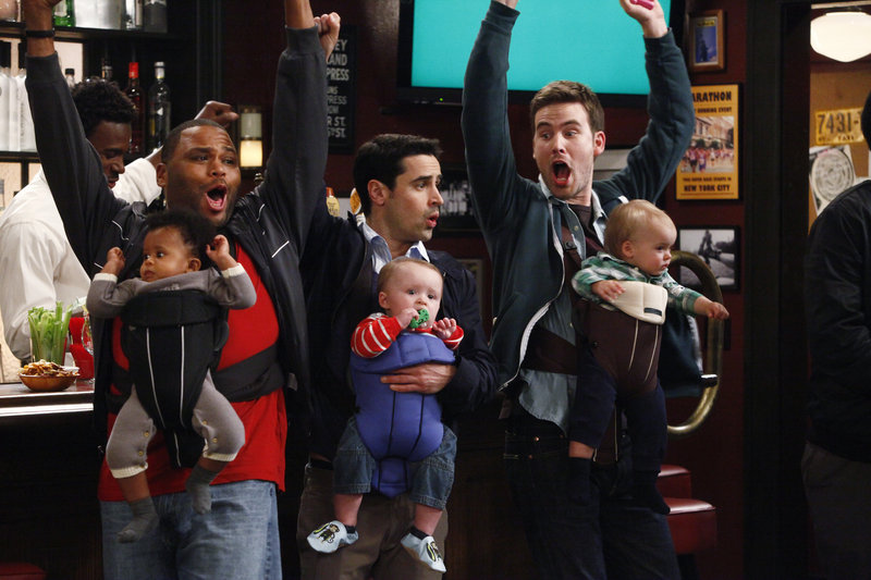 "Anthony Anderson, left, Jesse Bradford and Zach Cregger in NBC's ""Guys With Kids"""