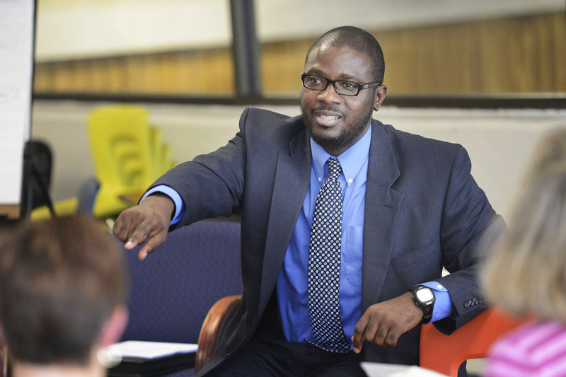 "Portland Superintendent Emmanuel ""Manny"" Caulk leads a listening session at the Reiche Elementary School in Portland on Wednesday."