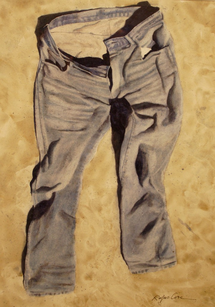 """Grass Jeans,"" watercolor, by Rufus Coes."