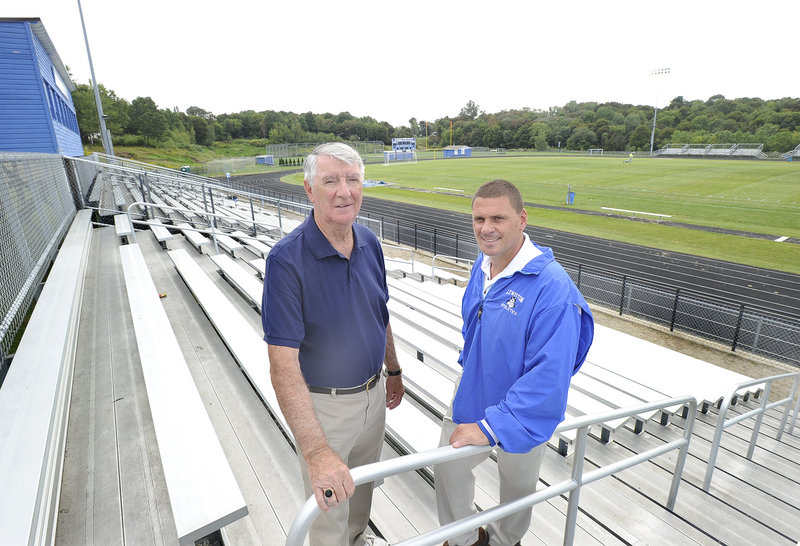 Fern Masse, left, former Lewiston High School athletic director, and Jason Fuller, the current AD, want to renovate sports fields at the city-owned Franklin Pasture Sports Complex in Lewiston by selling naming rights – not only for the complex, but for individual fields, concession stands and scoreboards, too.