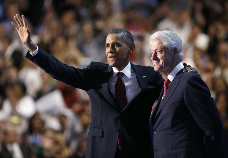 President Obama waves after former President Bill Clinton's speech at the Democratic National Convention in Charlotte, N.C., on Wednesday night. Obama could not have asked for a more potent testimonial than Clinton's point-by-point defense of his policies.