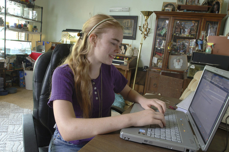 A girl works on an assignment online at her Ocala, Fla., home in 2007. The development of Maine's policy on digital learning has been as transparent and open a process as the development of policy on any other topic, Maine's education commissioner says.