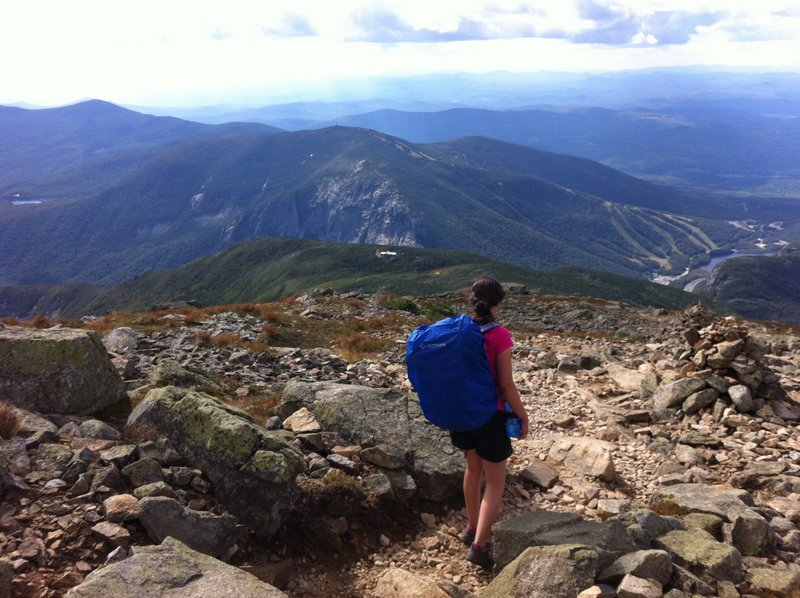The scenery is magnificent for hikers heading down Mount Lafayette via the Greenleaf Trail on the way to the AMC Greenleaf Hut in New Hampshire.