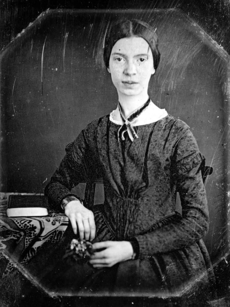 This photo released Friday, Sept. 7, 2012 by Amherst College Archives and Special Collections, and the Emily Dickinson Museum, in Amherst, Mass., shows a black and white copy of an 1847 daguerreotype of Emily Dickinson.
