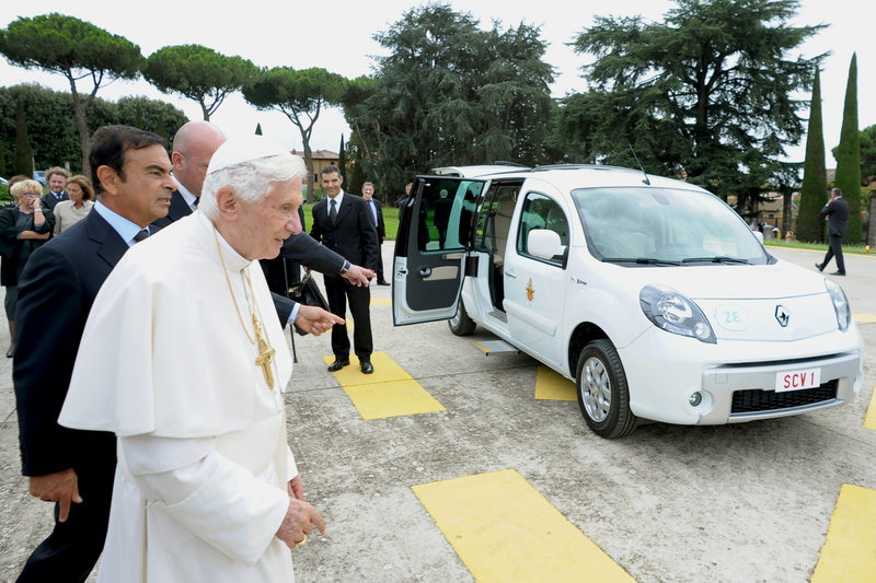 Pope Benedict XVI is given an electric car Wednesday, a white Renault Kangoo for jaunts around the gardens of the papal summer residence at Castel Gandolfo.