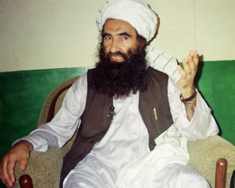 Jalaluddin Haqqani, founder of the militant Haqqani network, speaks during an interview in Pakistan in 1998. The U.S. declared the group a terrorist organization Friday.