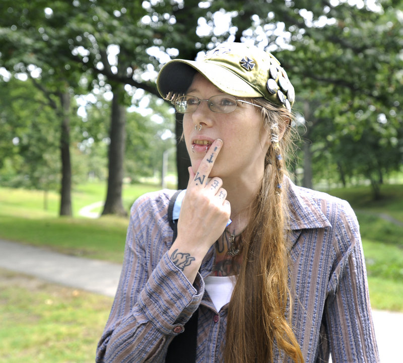 Alex Bailey of Portland says she smokes in Deering Oaks, and thinks parks should accommodate a wide range of people, including smokers.