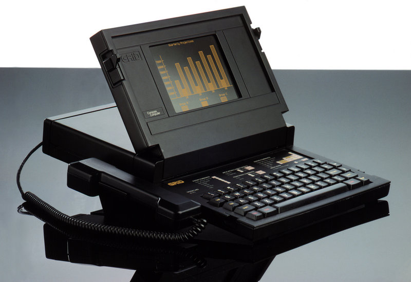 The Grid Compass computer was designed by Bill Moggridge, below. It sold for $8,150 when it was released in 1982. It was encased in magnesium and was used by the U.S. military. The computer went into space aboard the shuttle Discovery in 1985.