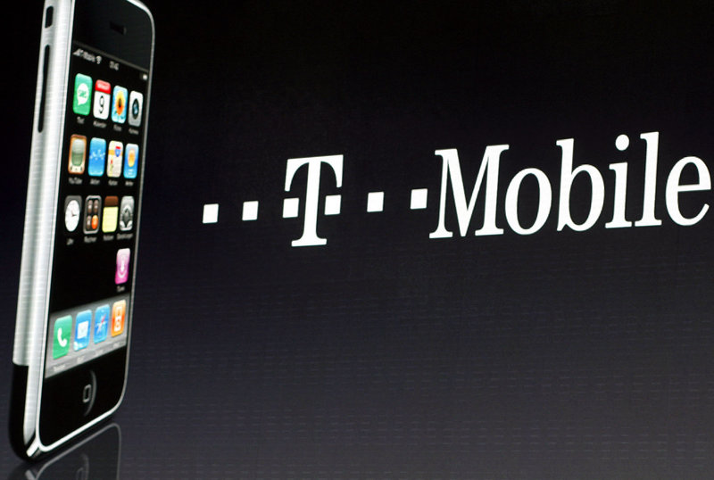 T-Mobile already has more than 1 million iPhones, shown at left, on its network.