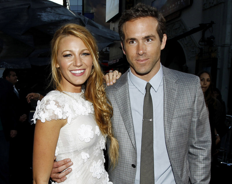 "Blake Lively and Ryan Reynolds, who starred in the movie ""Green Lantern,"" wed in Mount Pleasant, S.C., on Sunday."