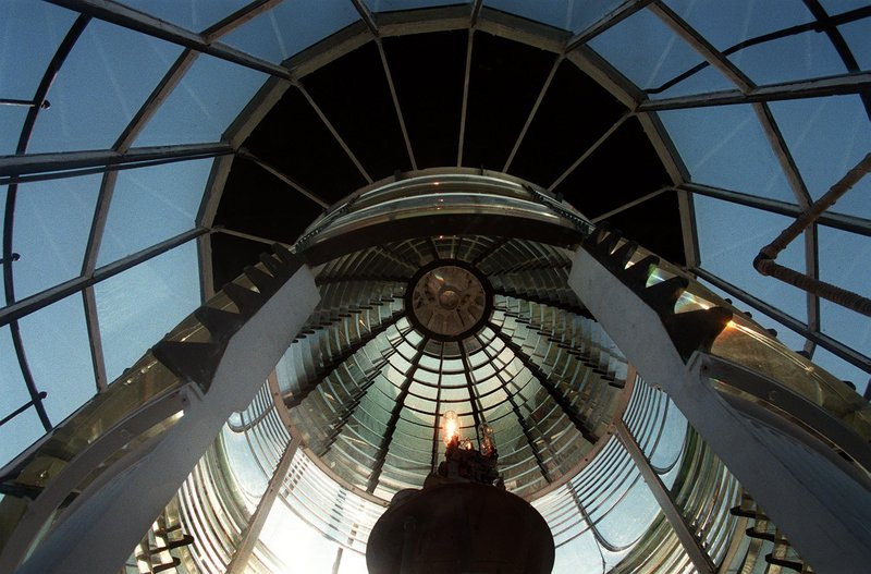 The Fresnel lens at Seguin Island Lighthouse