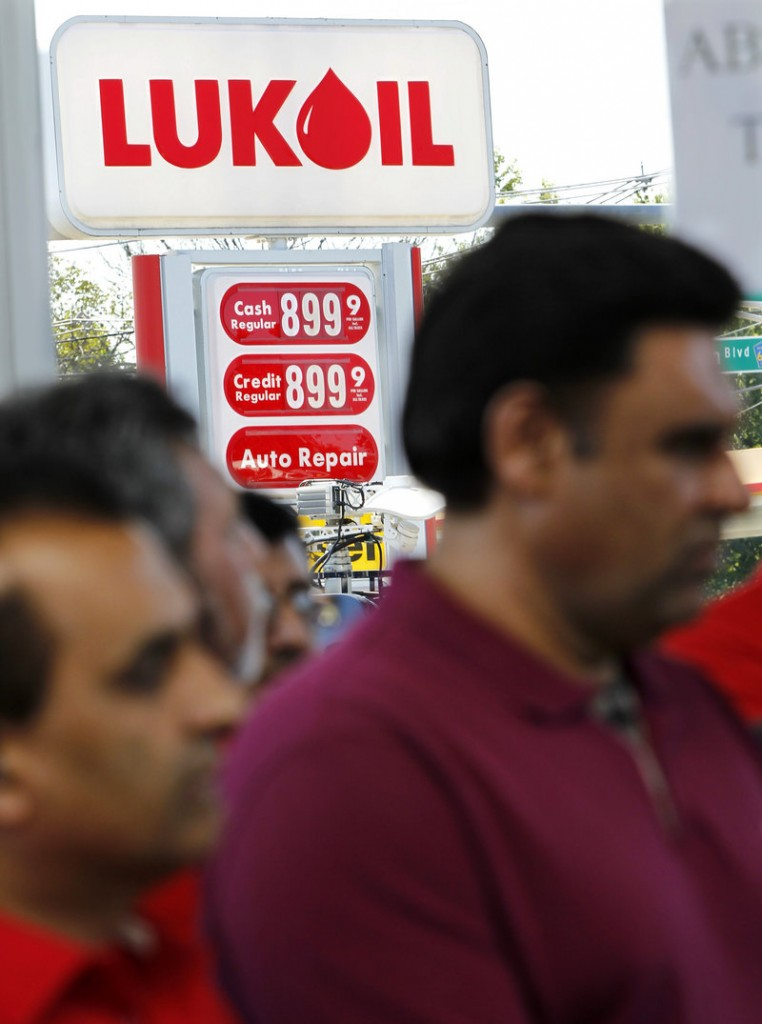 Lukoil dealers and workers gather Wednesday in South Plainfield, N.J., to protest what they call unfair pricing by Lukoil North America.