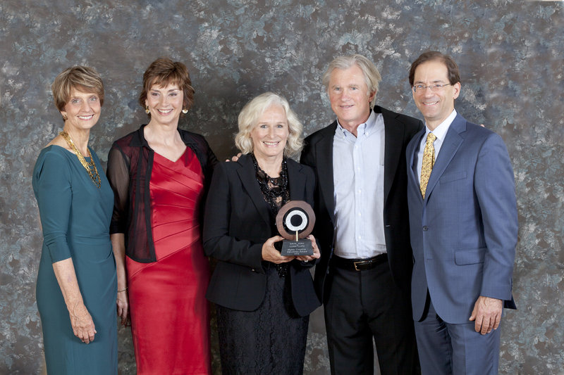 Maine Center for Creativity board president Katherine Greenleaf, MCC executive director Jean Maginnis, actress Glenn Close, Idexx founder and former CEO David Shaw and current IDEXX CEO Jonathan Ayers.