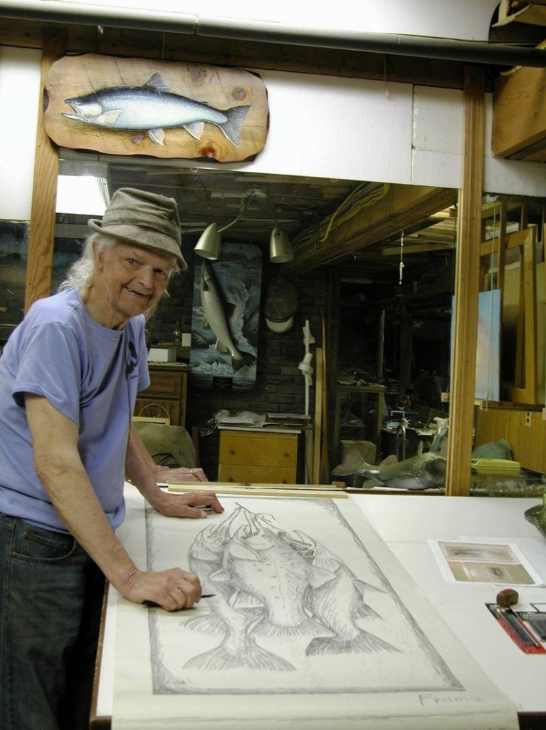 David Footer, still working in his Lewiston studio at age 81, learned his craft from Herb Welch, the famous Rangeley taxidermist and painter who opened his fly shop in Oquossoc in 1903.