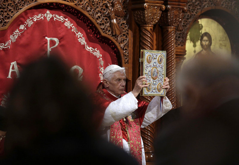 Pope Benedict XVI leads a ceremony at St. Paul Basilica in Harissa, near Beirut, as he started a three-day visit to Lebanon. The pope said he will meet with Lebanese authorities and Christians.