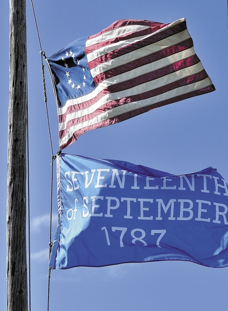 The Daughters of the American Revolution presented a special flag commemorating the 225th anniversary of the U.S. Constitution at Old Fort Western in Augusta on Saturday.
