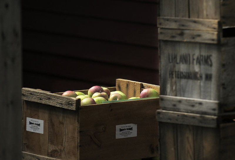 A crate of apples sits at Sweetser's Apple Barrel and Orchards in Cumberland on Thursday.