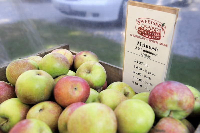 Apples sit for sale at Sweetser's Apple Barrel and Orchards in Cumberland.