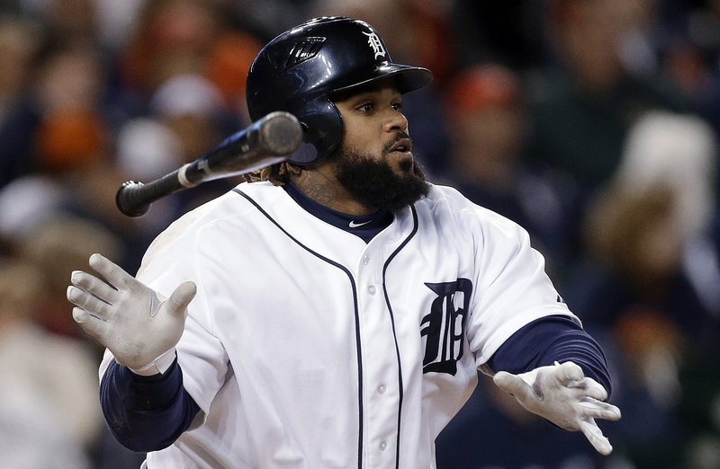 Detroit's Prince Fielder watches a two-run home run Tuesday against the Oakland Athletics. Fielder's teammate, Miguel Cabrera, had two homers in the Tigers' 12-2 win.