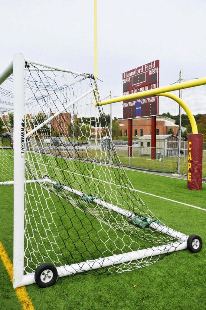 Hannaford Field at Cape Elizabeth High School was named in response to the supermarket chain's gift of $100,000 to the fundraising drive for the artificial turf. The company did not ask for its name to go on the field.