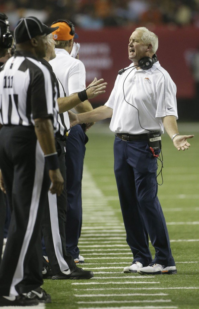 Denver Broncos Coach John Fox was fined $30,000 Monday for berating replacement officials during this game against the Atlanta Falcons a week earlier.