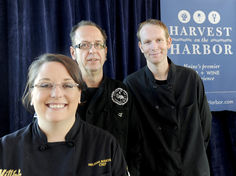 This year's Harvest on the Harbor finalists for Maine Lobster Chef of the Year, announced Thursday at Ocean Gateway in Portland, includes Chef Melissa Bouchard, Kerry Altiero, center, and Mackenzie Arrington.