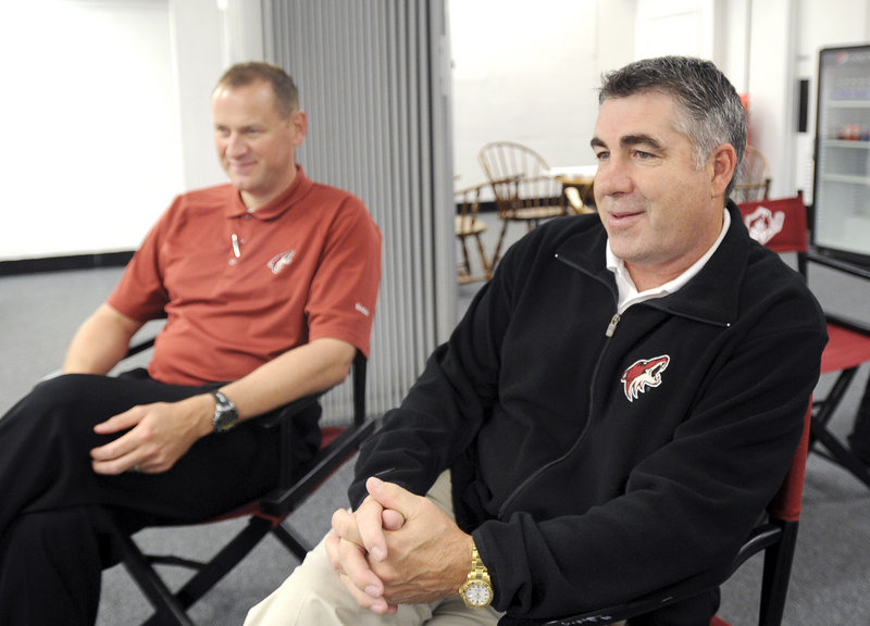 Phoenix Coach Dave Tippet, right, and assistant GM Brad Treliving are in Portland to observe and meet players.