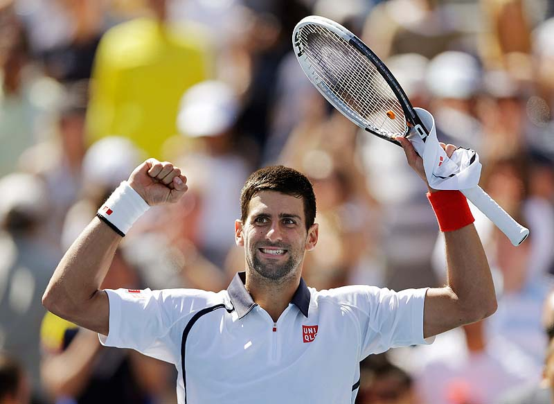Novak Djokovic celebrate after beating David Ferrer during a semifinal match at the 2012 US Open tennis tournament Sunday. Djokovic will play Andy Murray in Monday's final. 2012 US Open Tennis Tennis Sports Events US Open Tenis