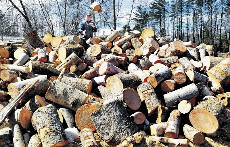 Kenneth Noyes throws a piece of firewood onto the pile after cutting wood for a relative in Madison.