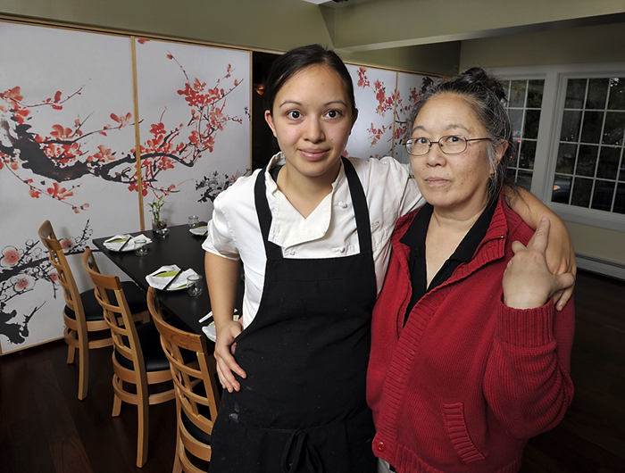 "Cecile Stadler and daughter Cara operate Tao Restaurant at 22 Pleasant St. in Brunswick with Cecile's husband, John. The restaurant seats about 52 and bears little resemblance to the lavish TAO New York and TAO Las Vegas. ""There would never be any confusion,"" Cecile Stadler said."