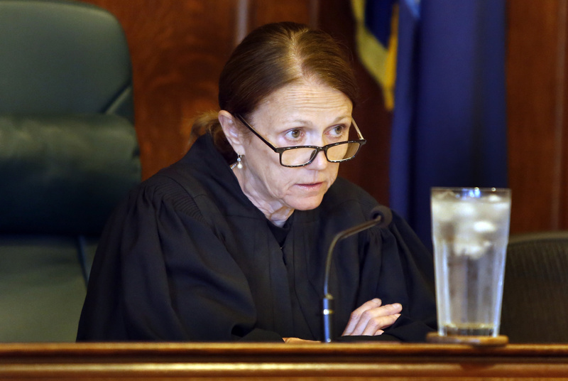 """Superior Court Justice Nancy Mills presides Tuesday over the arraignments of Alexis Wright and Mark Strong Sr. at the Cumberland County Courthouse in Portland. """"At some point, the defendants' rights are going to come into play,"""" Mills said, adding that the case will be expedited."""