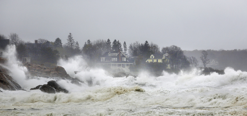 Waves crash into the coastline near Short Sand Beach in York on Monday.
