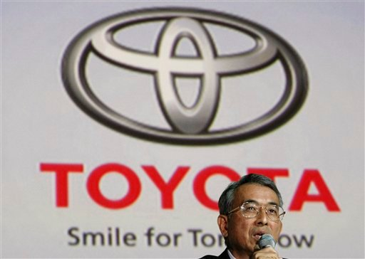 FILE - In this Oct. 20, 2009 file photo, Toyota Motor Corp. Executive Vice President Yukitoshi Funo speaks at a ceremony at a hotel in Seoul, South Korea, to launch the company's business in the country. Toyota is shrugging off a sales plunge in China set off by a territorial dispute and says it is headed to a record year on the back of strong growth in the rest of Asia and the U.S. Funo acknowledged Monday, Oct. 29, 2012 that achieving the company's target of 9.76 million vehicle sales this year will be harder because of the problems in China. Violent protests and a call to boycott Japanese goods erupted after Tokyo nationalized tiny islands that are controlled by Japan but claimed by Beijing. (AP Photo/Ahn Young-joon, File)