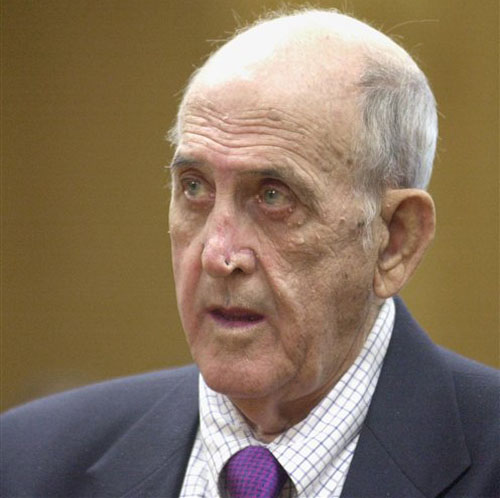 This May 16, 2002 file photo shows retired Boston Red Sox spring training clubhouse manager Donald Fitzpatrick during a court hearing in Bartow, Fla. A lawyer says eight more men have come forward to say they were abused by the now-dead former Red Sox clubhouse manager. (AP Photo/Greg Fight, File Pool)