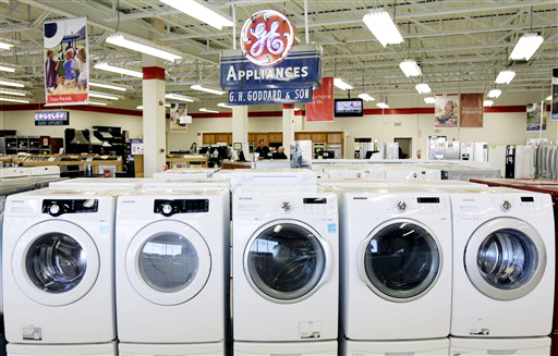 Appliances await buyers Thursday at Orville's Home Appliances store in Amherst, N.Y.