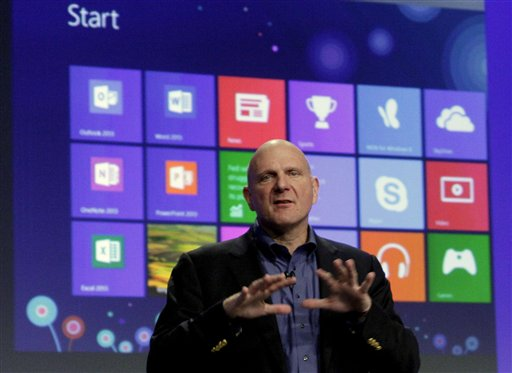 Microsoft CEO Steve Ballmer speaks at the launch of Microsoft Windows 8 Thursday in New York. Windows 8 is the most dramatic overhaul of the personal computer market's dominant operating system in 17 years.