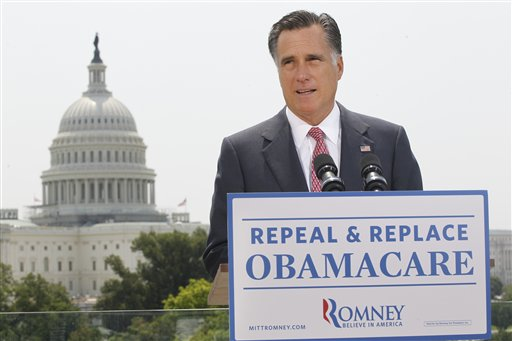 In this June 28, 2012, photo, Republican presidential candidate Mitt Romney speaks about the Supreme Court ruling on health care in Washington.