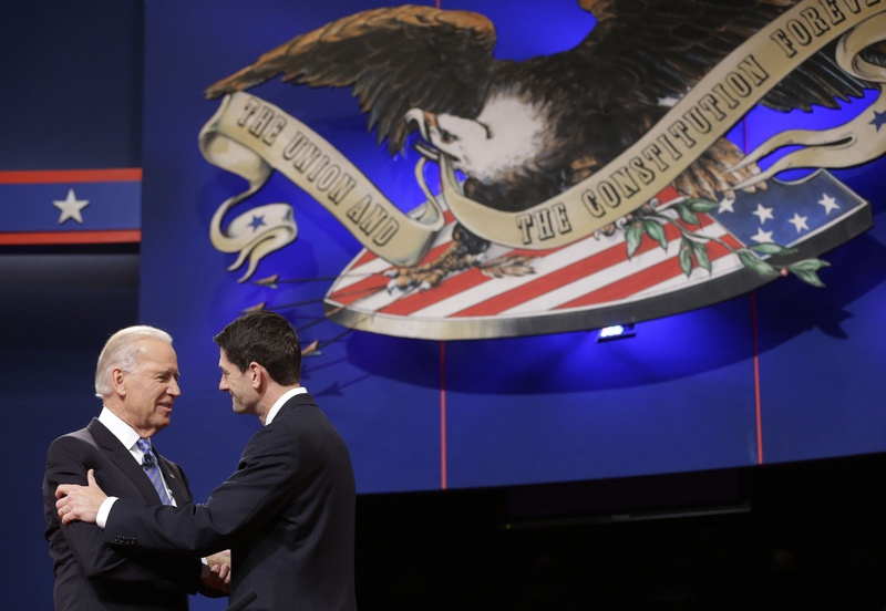Vice President Joe Biden and Republican vice presidential candidate Rep. Paul Ryan, R-Wis., shake hands before the start of the vice presidential debate at Centre College in Danville, Ky., on Thursday night.