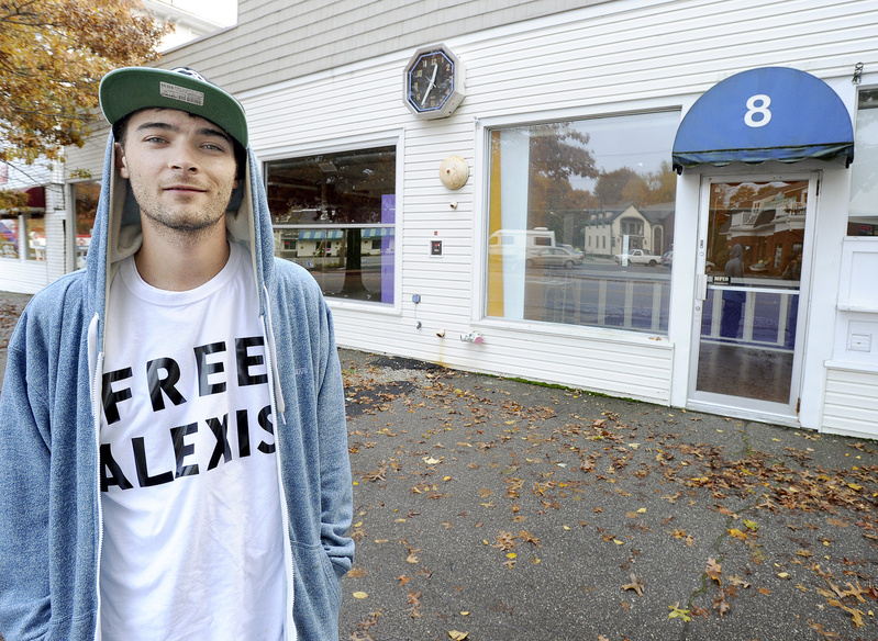 "Rapper Cam Groves, shown in front of Alexis Wright's former Zumba studio in Kennebunk, shot his music video for ""I Wish I Knew"" on the rocky coast in Kennebunkport."