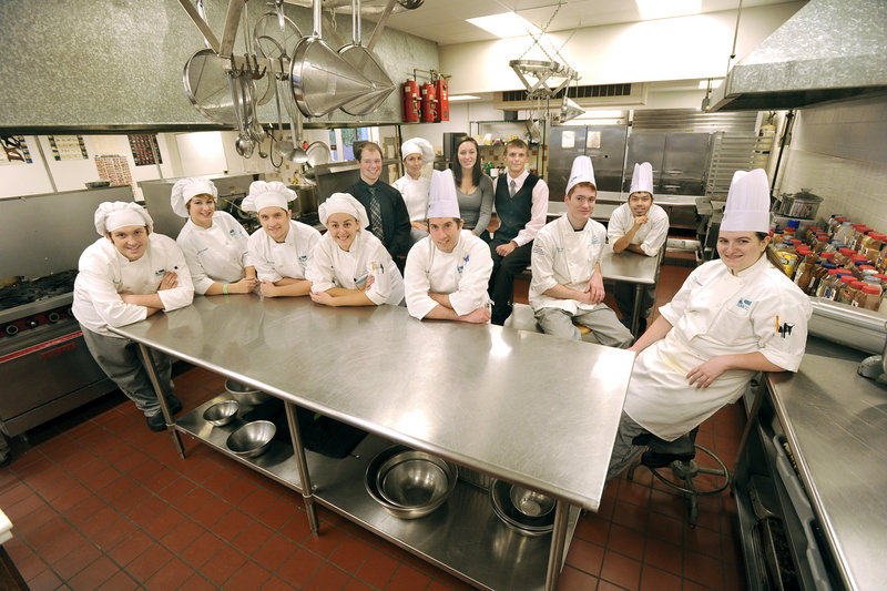 Southern Maine Community College culinary students competing in the Cutting Edge: Culinary College Competition include, front, left to right, Ensign Gerry, Audrey Carlson, Joe Lambert, Amanda Rock, Adam Robichaud and Megan Manseau; back, Marc Hill, Molly Jones, Leah Rothgaber, Kevin Ouellette, Nate Davies and Toan Nguyen.