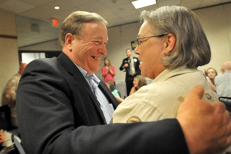 Kevin Raye is congratulated by a supporter as he wins the Republican nomination for the 2nd Congressional District. Raye got his start in politics through a letter he wrote to Olympia Snowe when he was 16.