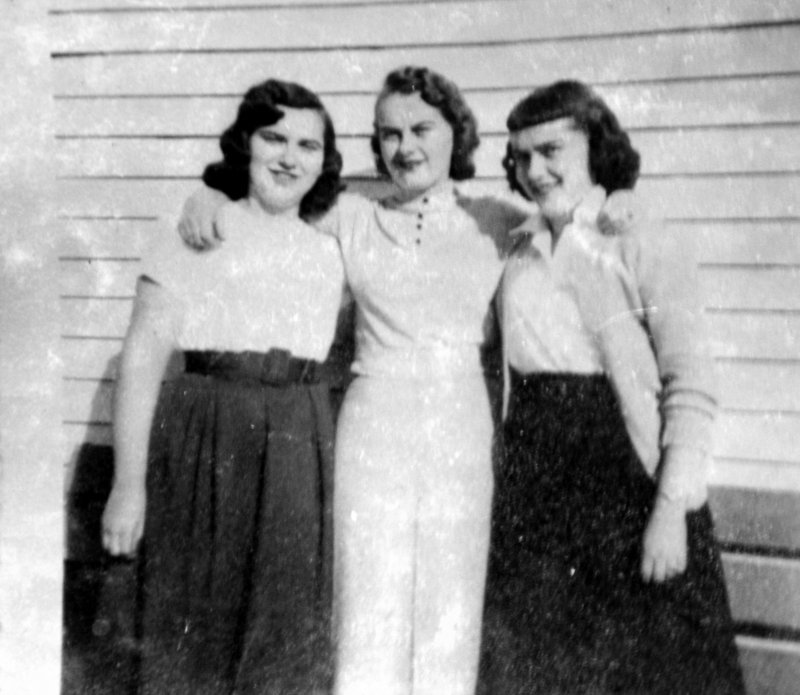 Lorraine Danforth, right, Christine Dupuis and Edna Doyon in Augusta in the 1950s.