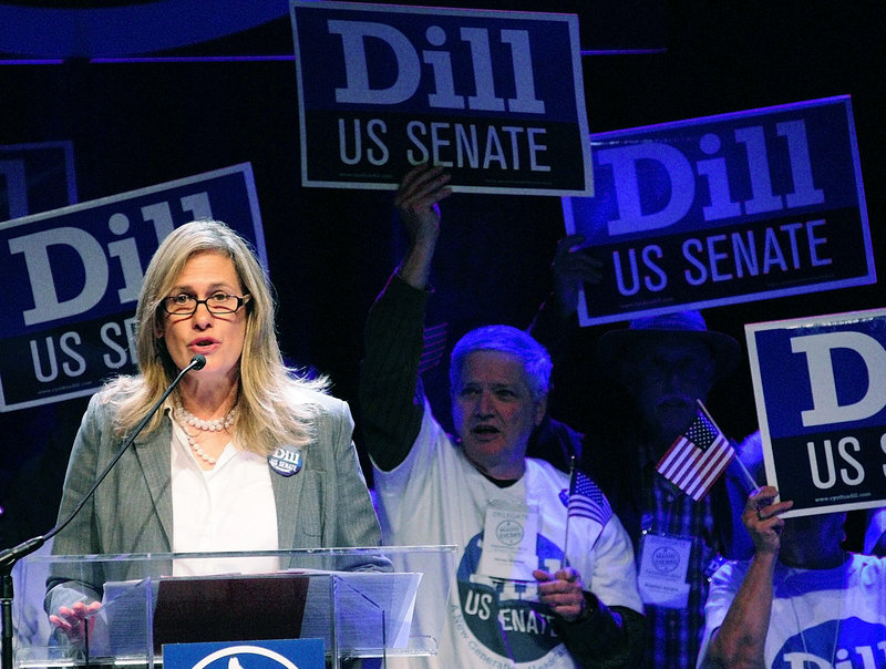 """Cynthia Dill speaks during the Maine Democratic Convention in June. Dill won a four-way primary to become her party's nominee to vie for Sen. Olympia Snowe's seat in the U.S. Senate, but has lagged behind her rivals in polls. Political scientist Jim Melcher says Dill """"has a reputation for being tenacious, scrappy, willing to say what she is thinking and to let the chips fall where they may, even if they rub her own party the wrong way."""""""