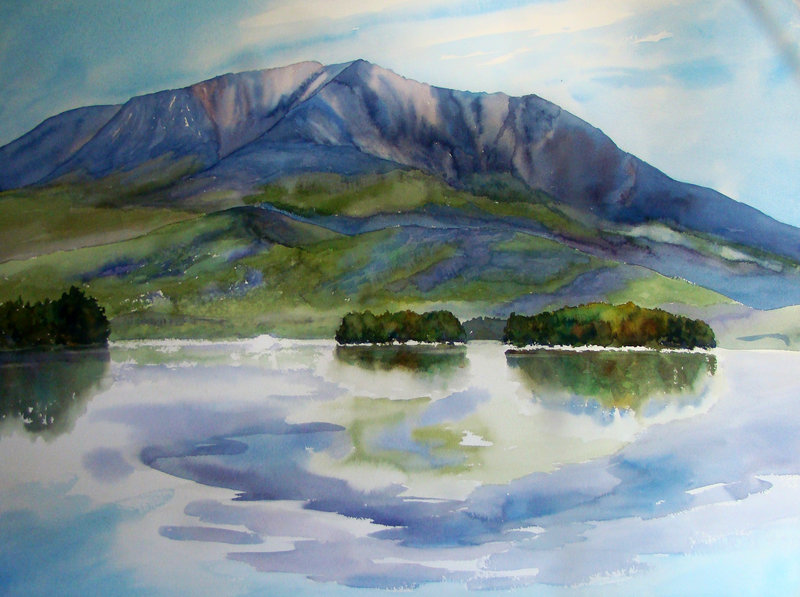 Finished painting of Katahdin by Evelyn Dunphy.
