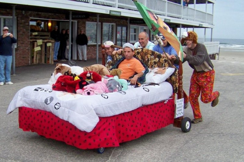 Stuffed animals went along for the ride in a previous race.