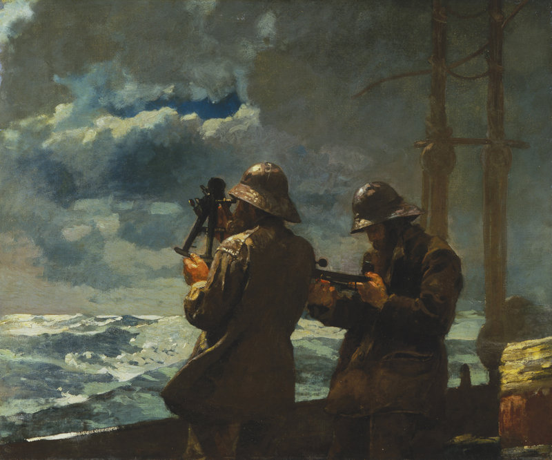 """Winslow Homer's painting """"Eight Bells,"""" an 1886 oil on canvas, is among the works included in Portland Museum of Art's exhibition titled """"Weatherbeaten: Winslow Homer and Maine."""""""