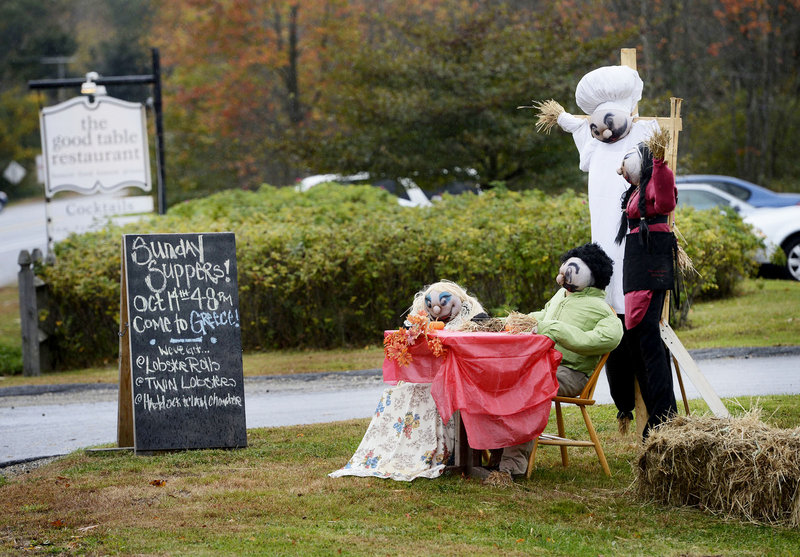 The Good Table restaurant in Cape Elizabeth gets into the spirit of things, creating this scene to greet diners.