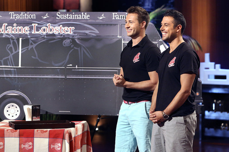 "Jim Tselikis of Cape Elizabeth, left, and his cousin Sabin Lomac of Scar- borough appear on an episode of ""Shark Tank,"" looking for capital to invest in their lobster food business. The show airs Friday."
