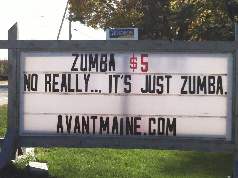The Avant Dance Center in Westbrook used its sign to drum up new business Thursday by alluding to the scandal in Kennebunk.