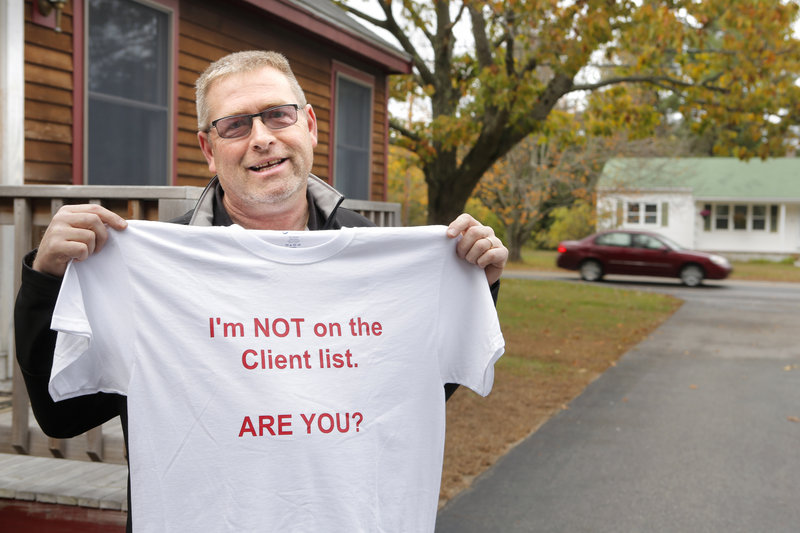 "Mark Nedeau of Kennebunk created this T-shirt to make light of the prostitution scandal that has plagued Kennebunk over recent weeks. ""It's like deer season,"" he said. ""Get your deer yet?"""